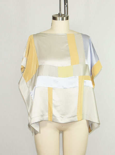 Patchwork Silk Charmeuse Tunic Lavender and Silver