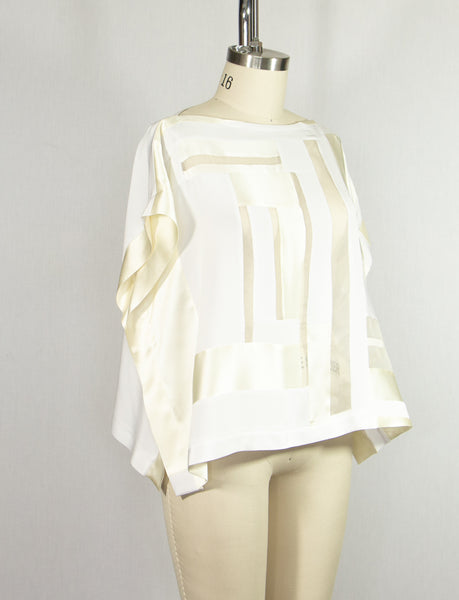 White Patchwork Silk Crepe Tunic