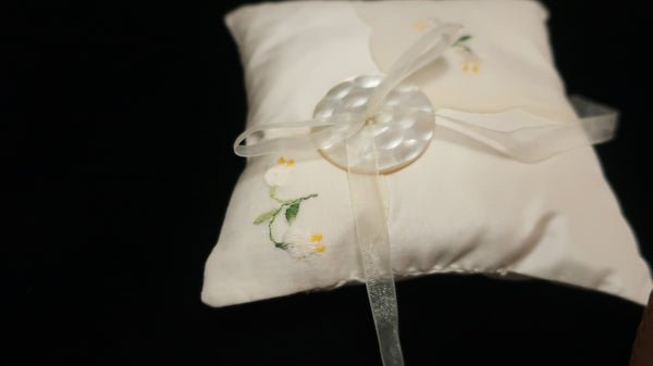 Small Silk Taffeta Pillow with Vintage Handkerchief