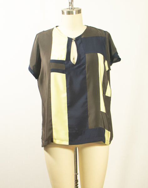 Short Sleeve Patchwork Tunic Top