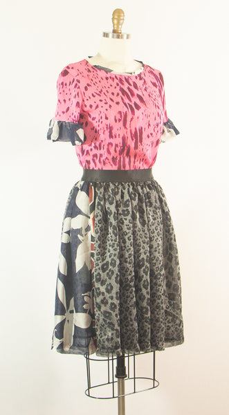Two Piece Silk top and Chiffon Skirt