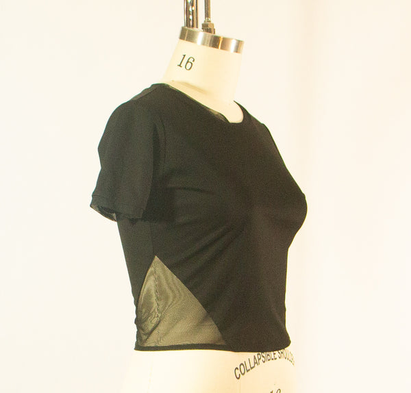 Short Sleeve Black Rayon T shirt with Sheer Inserts