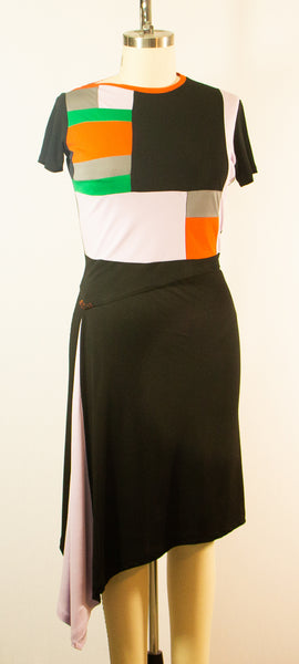 Two Piece Rayon Jersey Patchwork Top and Skirt