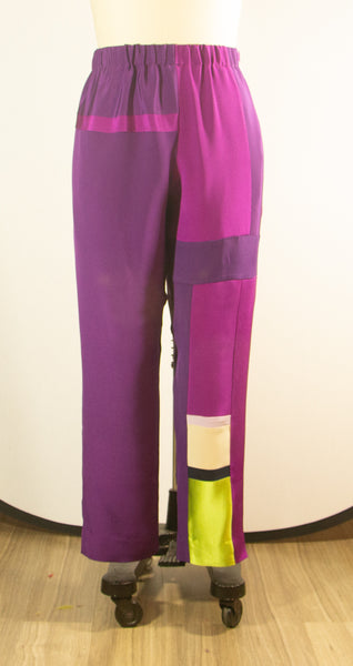 Purple Silk Patchwork Pants