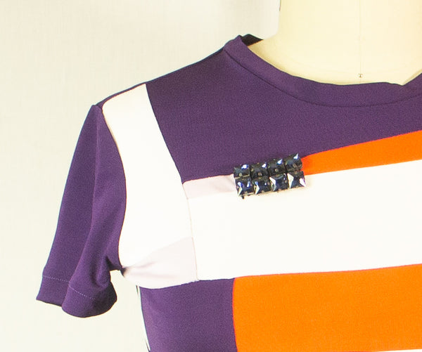 Short Sleeve Colorful Patchwork Rayon T shirt with Embellishment of Stones