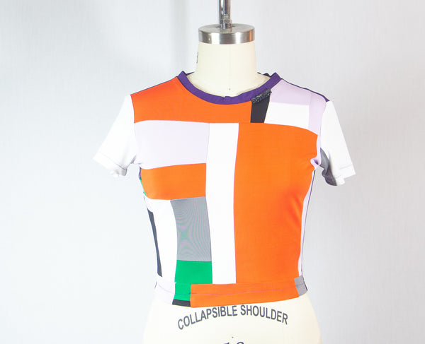 Short Sleeve Colorful Patchwork Rayon T shirt with Stones at Neckline