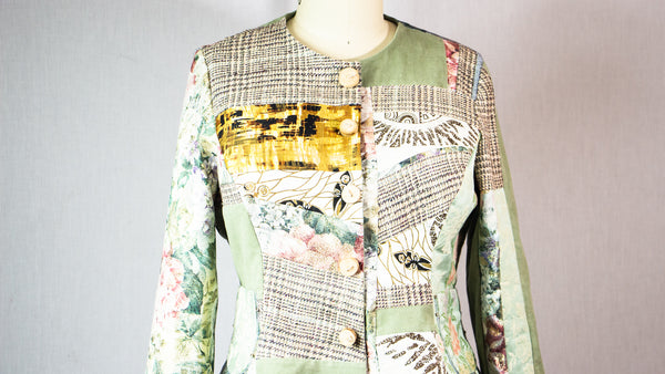 Large Patchwork Fitted Jacket with Mixed Fabrics and Beads