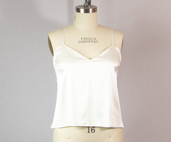 White Stretch Silk Camisole