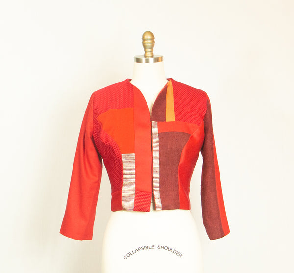 Red Small Patchwork Silk Jacket