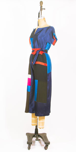 Patchwork Black Silk Jumpsuit