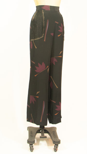 Silk Charmuese Print Pants with Lace Pockets
