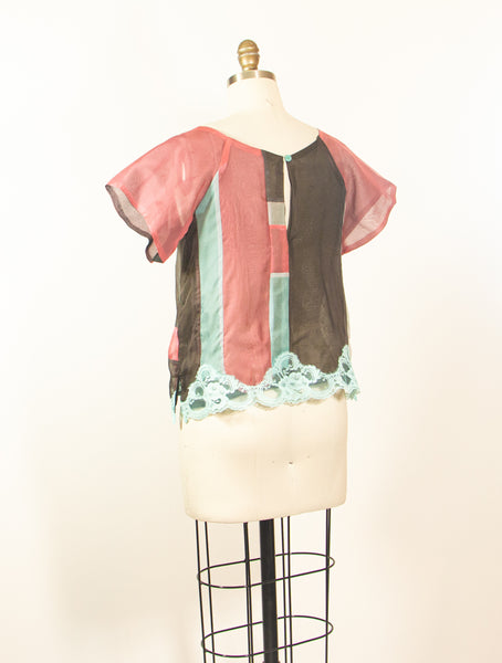 Silk Patchwork Organza Tunic with Lace Embellishment