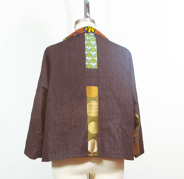 Patchwork Car Coat in Denim and Print Silk Satin