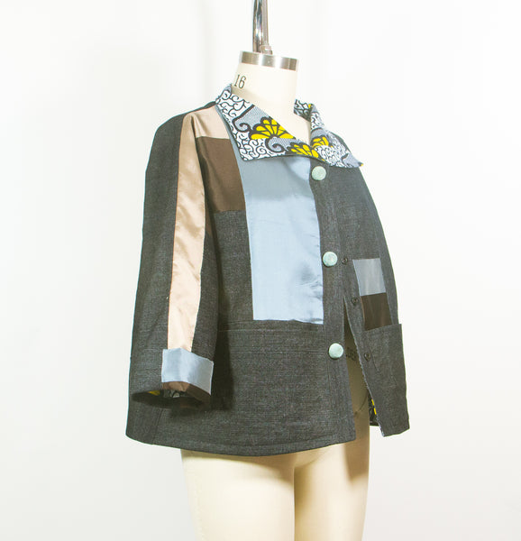 Patchwork Car Coat in Denim and Silk Satin