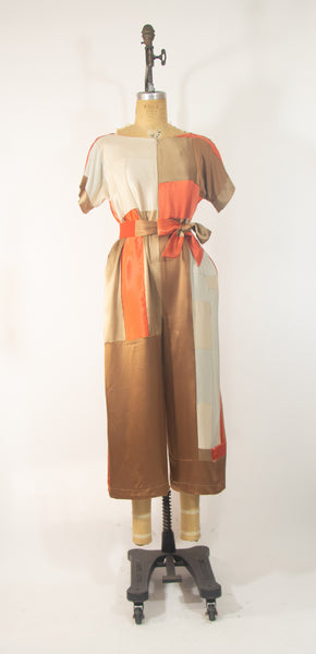 Orange Patchwork Silk Jumpsuit