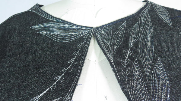 Denim Shrug with Decorative Stitching