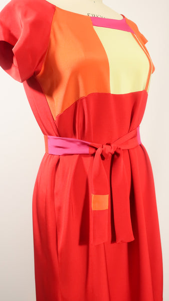 Red Patchwork Dress with Belt