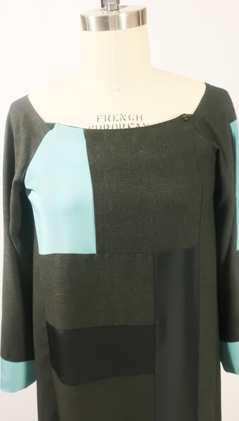 Patchwork Charcoal Grey Wool and Turquoise Blue Silk Dress with Belt