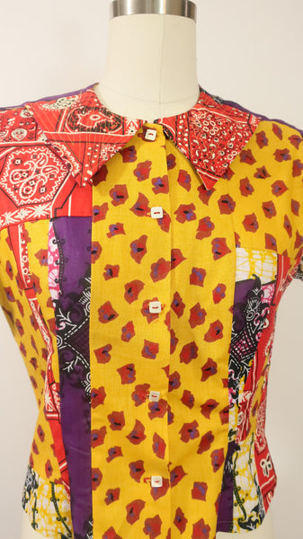 Patchwork African Print Shirt with Bandana Cotton