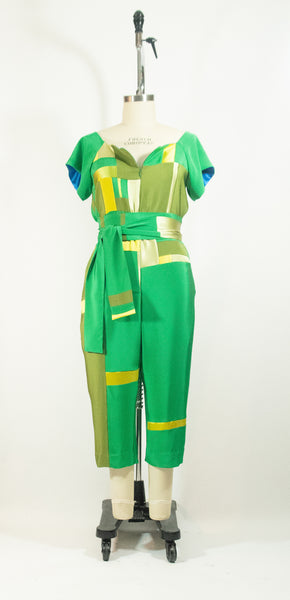 Green Patchwork Silk Jumpsuit
