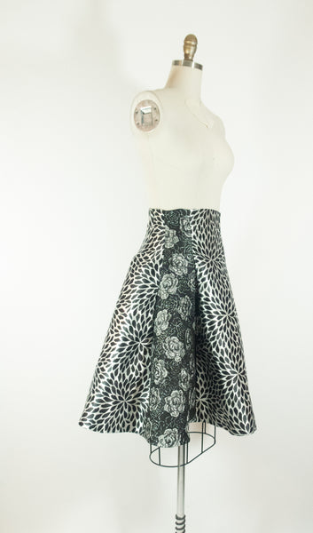 Black and Silver Gored Skirt Pattern Mix