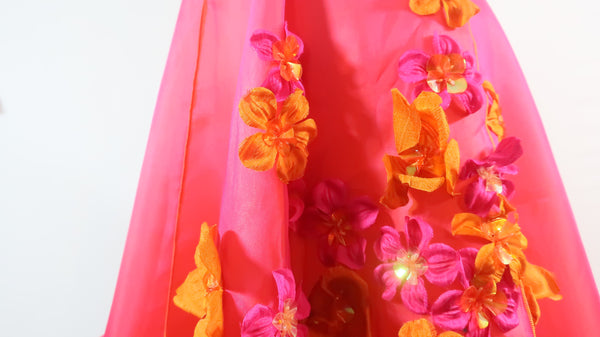 Silk Organza with Flowers Embellishment