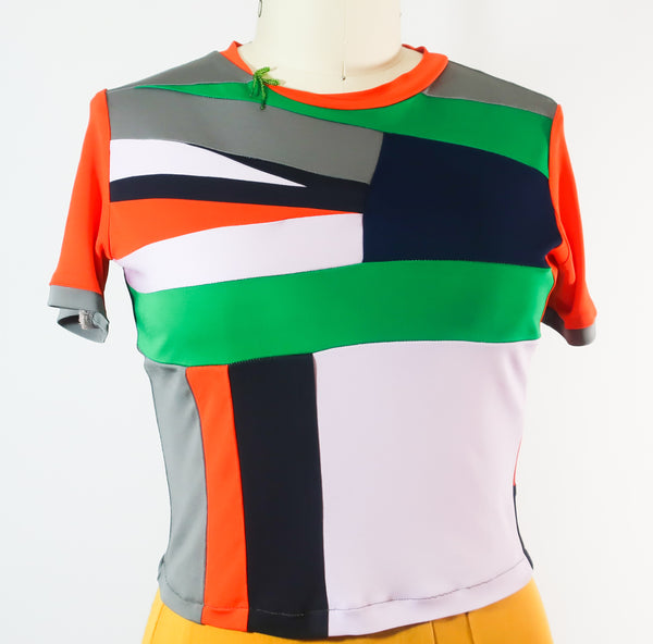 Short Sleeve Colorful Patchwork Rayon T shirt