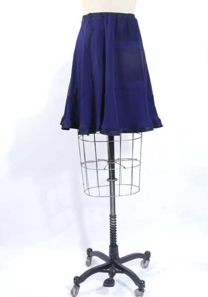 Navy Blue Patchwork Silk Chiffon Skirt