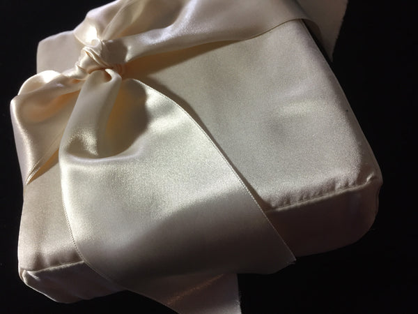 Bridal Pillow Silk Satin Square With Silk Bow