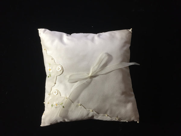 Silk Taffeta Square Pillow with Vintage Handkerchief