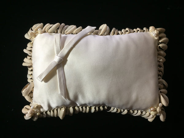 Rectangle Bridal Pillow Silk Satin with Cowrie Shells