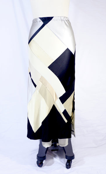 Plus Size Long 4 Ply Patchwork Silk Skirt