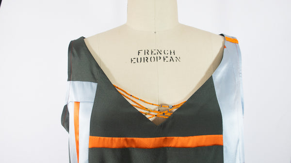 Patchwork Stretch Silk Camisole Grey with Orange Patches Large