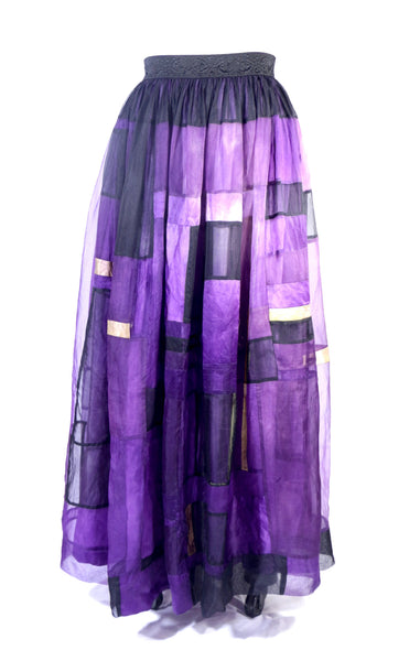 Plus Size Purple Patchwork Silk Organza Skirt