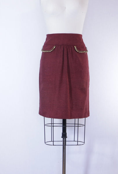 Burgundy Raw Silk Skirt with Beaded Flaps
