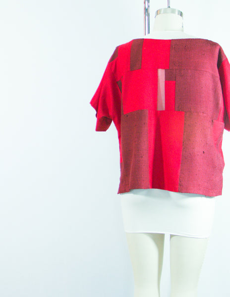 Patchwork Red Silk Dupioni Tunic Large
