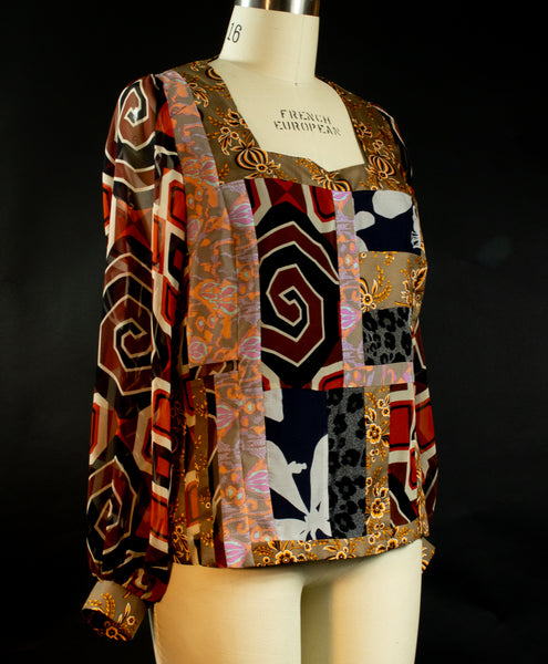Print Silk Square Neck Patchwork Top