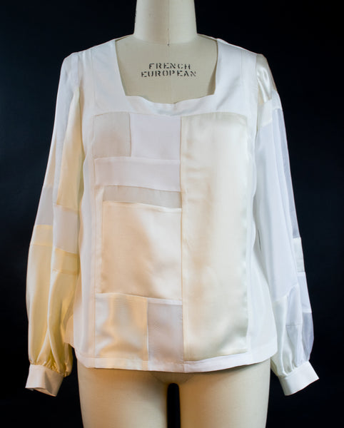 White Silk Square Neck Patchwork Top