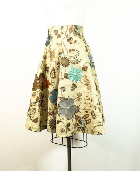 Linen Print A Line Skirt With Appliqued Flowers