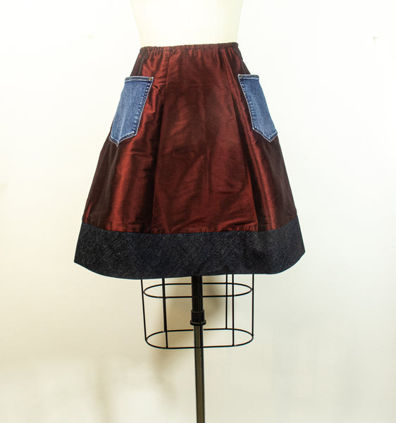 Denim and Silk Skirt A Line