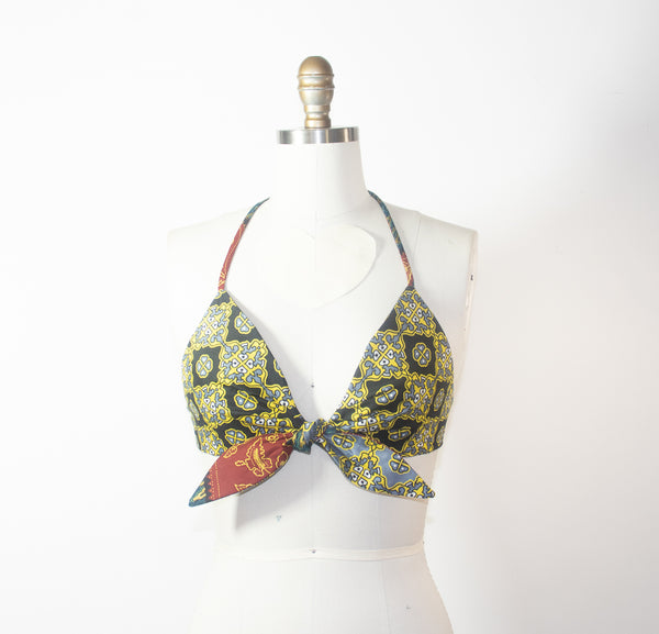 African Print Reversible Halter Green Bra Top