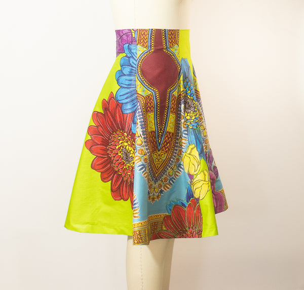 African Print Skirt A Line With Appliques