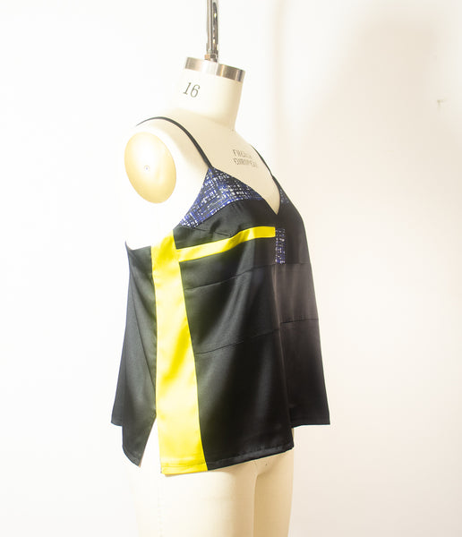 Patchwork Stretch Silk Camisole Navy Blue With Yellow