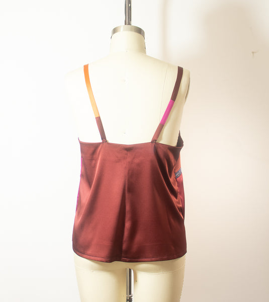Patchwork Stretch Silk Camisole Pink