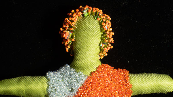 Beaded Doll with Orange Beaded Afro