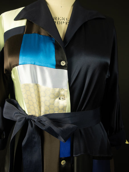 Navy Blue Patchwork Silk Charmuese Robe