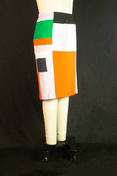 Patchwork with Orange Patch Matte Jersey Skirt Medium