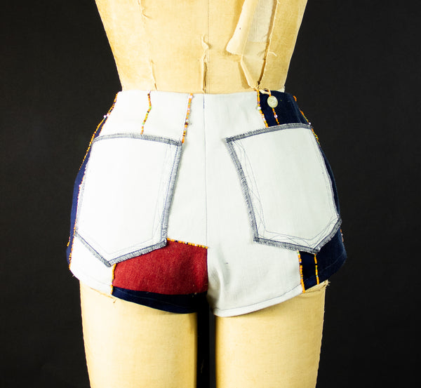 Patchwork Stretch Denim Short with Beads