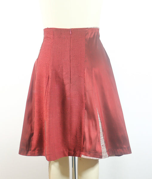 Burgundy Silk Patchwork Skirt