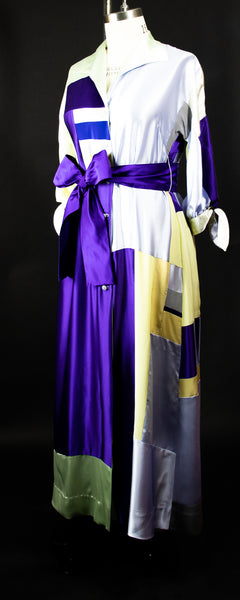 Patchwork Silk Charmuese Robe